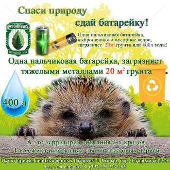 Центр защиты леса Республики Тыва подвел итоги акции «Спаси природу сдай батарейку» за 2020 год